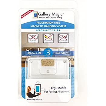 Gallery Magic Adjustable Magnetic Picture Hanging Hardware Kit - Frustration Free Picture Hangers - Holds Up to 15lbs.