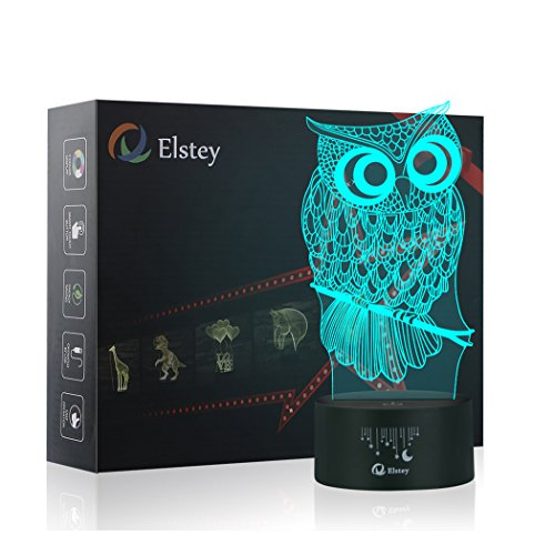 Owl 3D Illusion Lamp, Elstey 7 Color Changing Touch Table De
