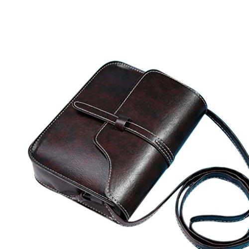 Messenger Bag,Han Shi Fashion Vintage Leather Cross Body Shoulder Purse Bag (Coffee, L)