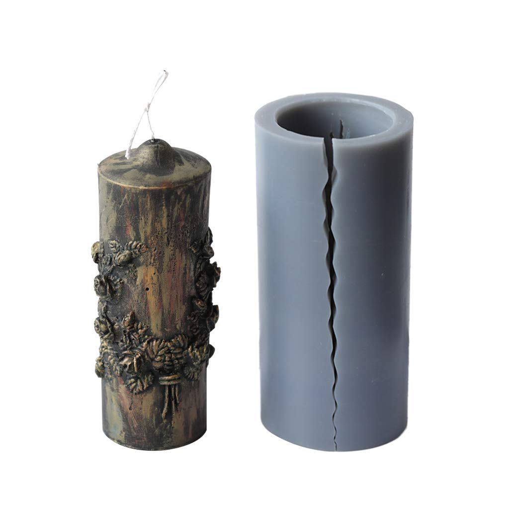 3D Carved Cylindrical Candle Mold Silicone Clay Soap Mould for Making Candles Utility To Use
