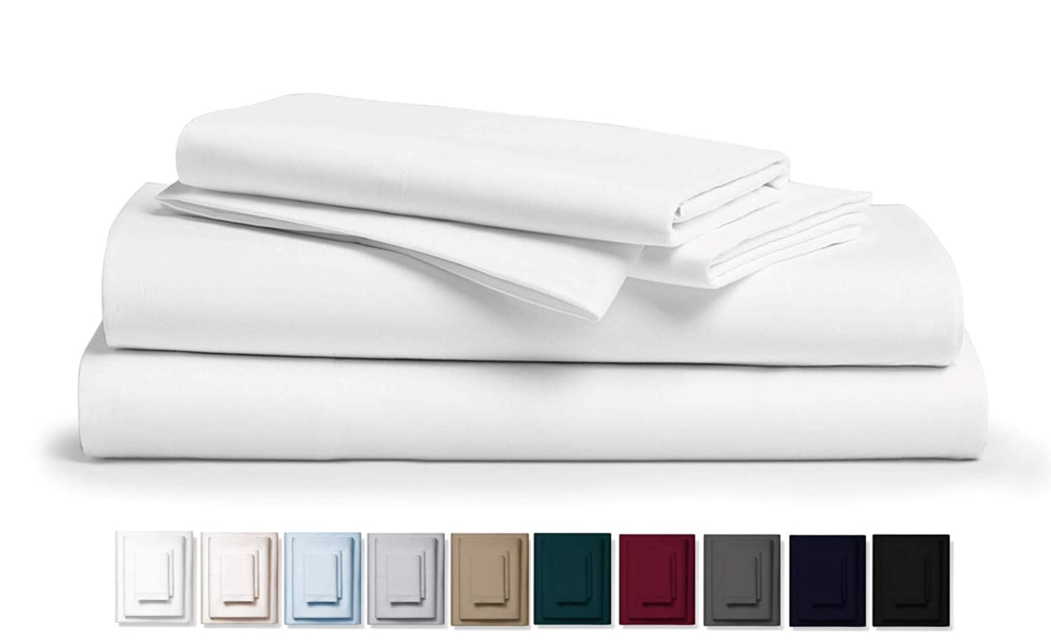 "Kemberly Home Collection 800 Thread Count 100% Pure Egyptian Cotton – Sateen Weave Premium Bed Sheets, 4- Piece White Queen- Size Luxury Sheet Set, Fits mattresses Upto 18"" deep Pocket"