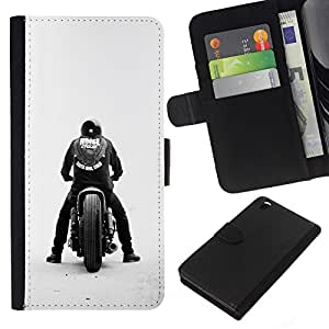 LECELL--Cuero de la tarjeta la carpeta del tirón Smartphone Slots Protección Holder For HTC DESIRE 816 -- Bobber cuadrilla de la motocicleta --