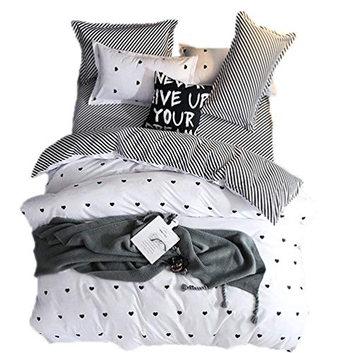 Black Hearts Pattern Bedding Set King for Teen Girls Women and Adults,Polyester,Soft,Reversible(1 Duvet Cover +1 Flat Sheet + 2 Pillowcase,4 Pcs) -King,White and Black ()