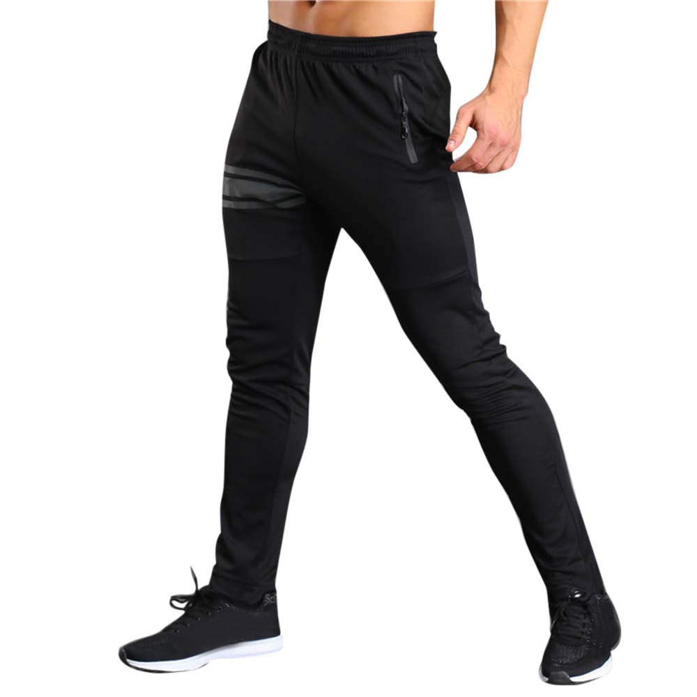Running Pants with Phone Pocket Men Long Casual Sport Pants Gym Slim Fit Trousers Running Jogger Gym Sweatpants Black
