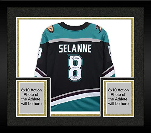 (Framed Teemu Selanne Anaheim Ducks Autographed Throwback Fanatics Breakaway Jersey with Multiple Inscriptions - #8 of a Limited Edition of 8 - Fanatics Authentic Certified)