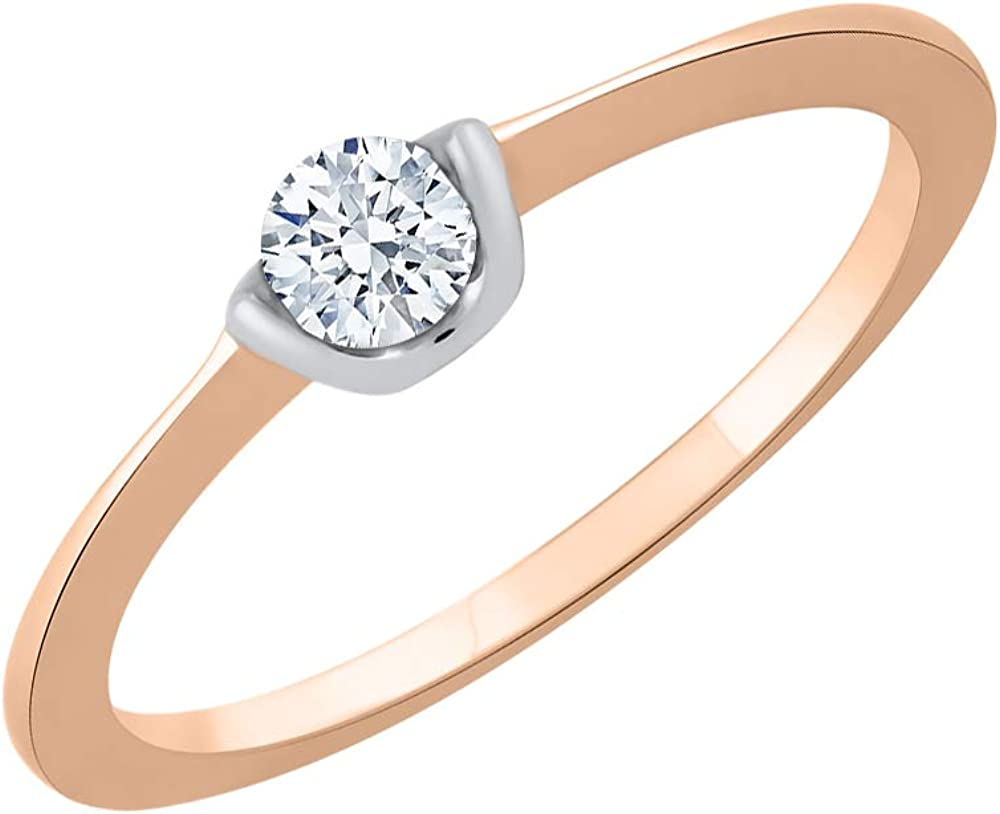 Size-4.75 Diamond Wedding Band in 14K Pink Gold G-H,I2-I3 1//8 cttw,