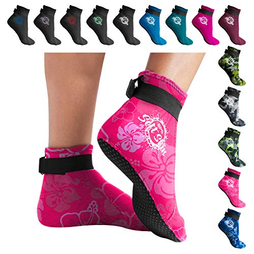 BPS 'Soft Skin' 3mm Neoprene Socks with Grip - Adjustable Fit for Swim Flippers, surf, Snorkel, Kayak, Dive and Other Water Sport - Low Cut (Floral Pink, S) (Neoprene Water)
