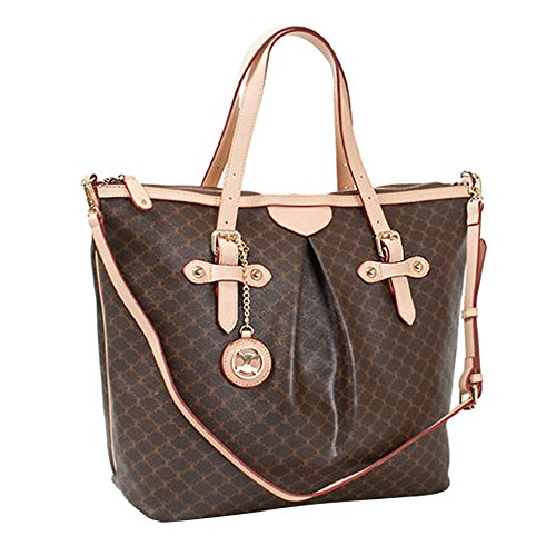 Leather Accents Shoulder Handbag Large (beige) (Fake Louis Vuitton Handbags)