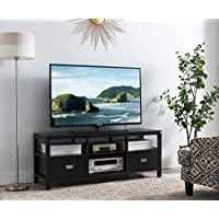 Kings Brand Furniture 54 Black Finish Wood TV Stand Entertainment Center with Storage