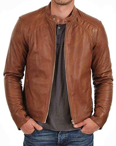 Mens Stylish Fashionable Slim Fit Motorcycle Bomber Leather Jacket KL463 - L