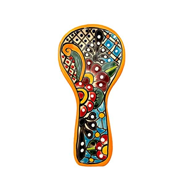 Colorful-Kitchen-Ceramic-Spoon-Rest-Hand-Painted-Mexican-Style-Cuchara-Multicolor