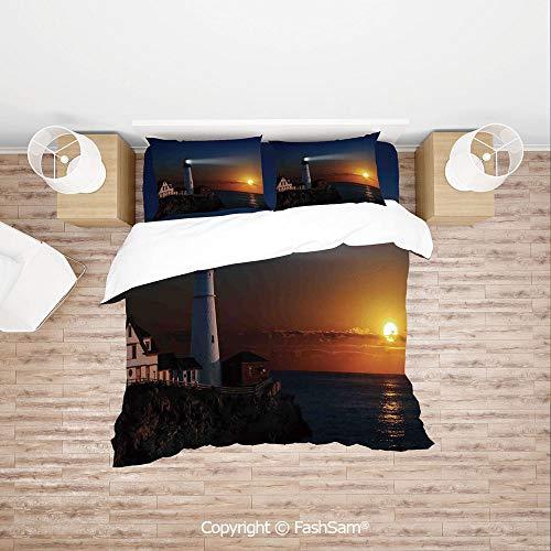 (FashSam Duvet Cover 4 Pcs Comforter Cover Set Portland House at Dawn Rocks Houses Fences Lamp Image Navigation for Boys Grils Kids(Queen))