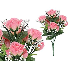 Artificial Flower, 7-stem Small Roses with Baby Breath 1