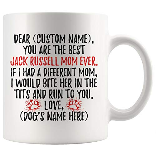 Personalized Jack Russell Terrier Dog Mom Mug, Jack Russell Dog Women Gifts, Jack Russell Dog Mommy Mug, Russell Terrier Dog Owner Gift (11 oz)