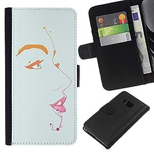 Planetar® Modelo colorido cuero carpeta tirón caso cubierta piel Holster Funda protección Para HTC One M7 ( Labios Ojos Pintura Retrato minimalistas)