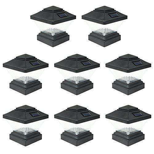 8 Pack Black Outdoor Garden 4 x 4 Solar LED Post Deck Cap Square Fence Light Landscape Lamp Lawn PVC Vinyl Wood [並行輸入品] B07R9RTF77