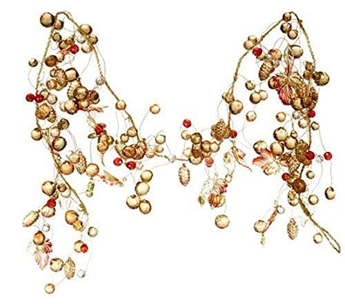 RAZ Imports QVC Valerie Fall Decor- Harvest Lighted Beaded Jeweled Garland #5848 (Brown Beaded Garland)