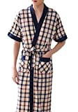 Pivaconis Men's Loose Fit Bathrobe Summer Checkered Kimono Short Sleeve Robe 1 L