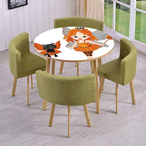 iPrint Round Table/Wall/Floor Decal Strikers/Removable/Halloween Baby Fairy and Her Cat in Costumes Butterflies Girls Kids Room Decor Decorative/for Living Room/Kitchens/Office Decoration for $<!--$18.99-->
