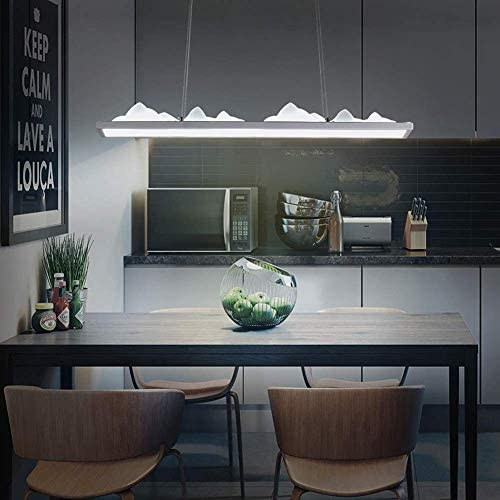 Modern Led Pendant Light Contemporary Rectangular and Mountain Design Adjustable Acrylic for Office Dining Room Bedroom Living Room 60 X 12 cm
