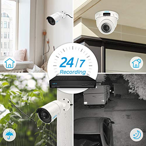 Reolink 4MP 8CH PoE Video Surveillance System, 4pcs Wired Outdoor 1440P PoE IP Cameras, 5MP 4MP Supported 8 Channel NVR Security System with 2TB HDD for 24/7 Recording RLK8-410B2D2