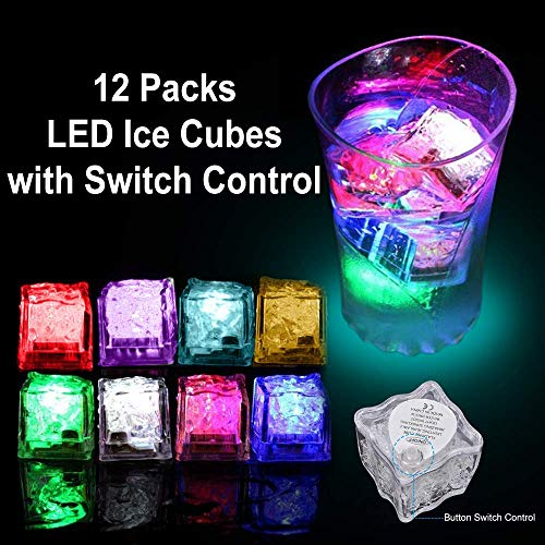 Light Up Cube (valeny Multicolor Light-Up Ice Cube Lights with 8 Color Modes and On/Off Switch LED Glass Brick Light for Bar Club Wedding Party Christmas Champagne Tower Decoration(12)