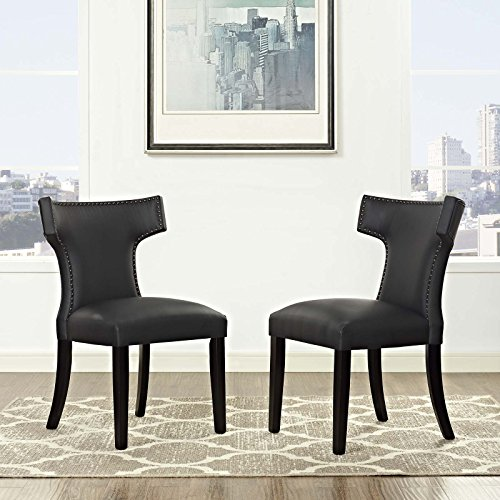 Modway Curve Mid-Century Modern Upholstered Vinyl Two Dining Chair Set With Nailhead Trim In Black