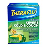 Theraflu Nighttime Severe Cold and Cough Medicine, Honey Lemon, Chamomile, and White Tea Flavors, 12 Count - Pack of 5