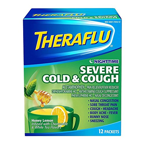 Theraflu Nighttime Severe Cold and Cough Medicine, Honey Lemon, Chamomile, and White Tea Flavors, 12 Count - Pack of 5 by Theraflu T