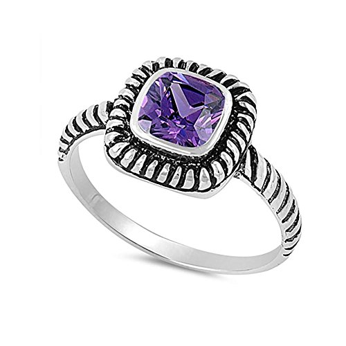 - Blue Apple Co. Bezel Solitaire Twisted Cable Oxidized Design Fashion Ring Princess Cut Simulated Purple Amethyst 925 Sterling Silver