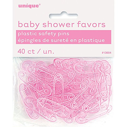 Unique Industries Plastic Pink Safety Pin Girl Baby Shower Favor Charms, 40ct