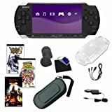Sony PSP-3000 Piano Black Bundle with 3 Games and Accessories