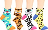 MIRMARU Women's 4 Pairs Famous Painting Art Printed Funny Novelty Casual Cotton Crew Socks. (W-L-015)