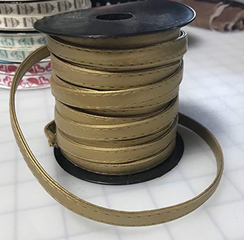 Gold Faux Leather Ribbon Trim 3/8