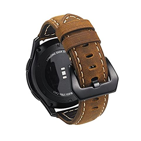 Samsung Gear S3 Watch Band,Shangpule 22mm Leather Strap Replacement Smart Watch Band Bracelet for Gear S3 Classic SM-R760 and S3 Frontier SM-R770 Smartwatch (Zj Sm)