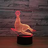 Circle Circle Animal Seal Colorful Gradients 3D Optical Illusion Lamp 7 Colors Change and 15 Keys Remote Control Children Kids Bedside Table LED Night Light