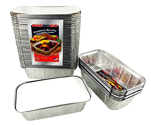 Pactogo 1 1/2 lb. IVC Disposable Aluminum Foil Loaf Bread Pan w/Board Lid (8'' x 4.1'' x 2.2'') - Heavy Duty Made in USA (Pack of 50 Sets) by PACTOGO