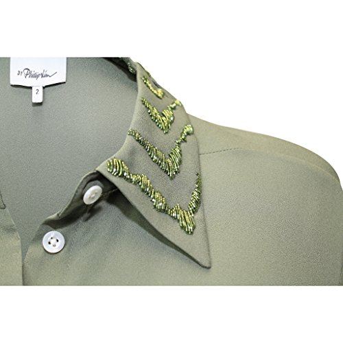 3.1 Phillip Lim Womens Silk Collared Shirt With Embellished Collar Succulent 2