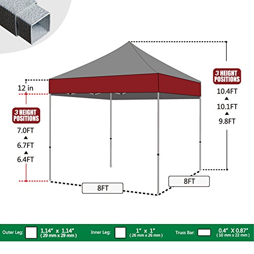 Eurmax Basic 8x8 Pop Up Canopy Instant Canopy Outdoor Tent
