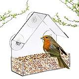 OKIl Acrylic Transparent Bird Squirrel Feeder Tray Birdhouse Window Suction Cup Mount
