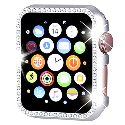 Watch Case for Apple Watch Series 4 40mm Bling Rhinestone Diamond-Mounted Aluminum Frame Shockproof Protector Case Cover ()