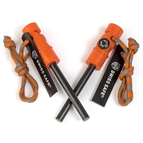Swiss Safe 5-in-1 Fire Starter with Compass, Paracord and Whistle (2-Pack) for Emergency Survival Kits, Camping, Hiking, All-Weather Magnesium Ferro Rod (Hunting Orange) - Fire Starter Design