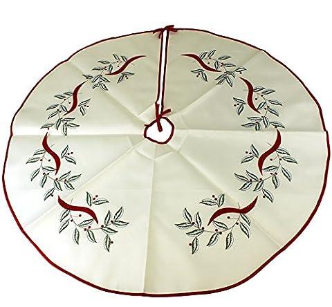 Violet Linen Decorative Christmas Embroidered Leaves Design Tree Skirt, 43