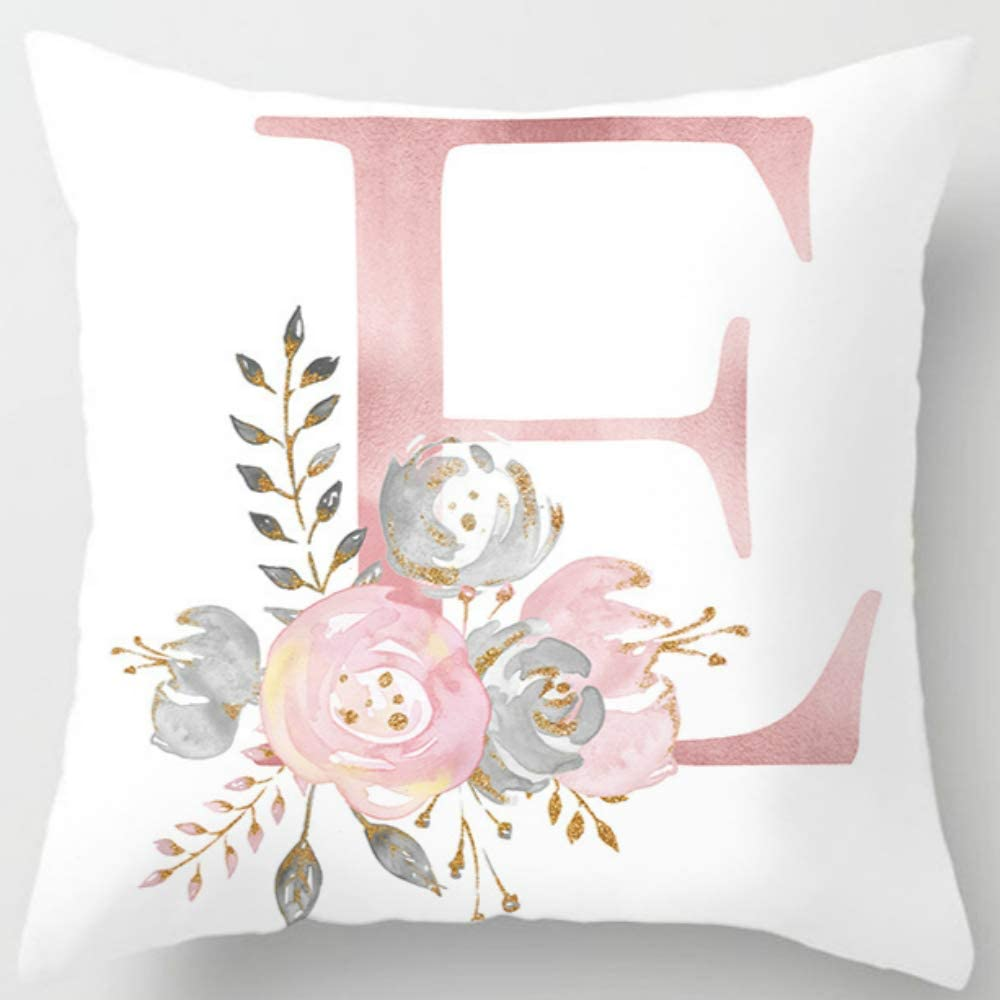Eanpet Throw Pillow Covers Alphabet Decorative Pillow Cases ABC Letter Flowers Cushion Covers 18 x 18 Inch Square Pillow Protectors for Sofa Couch Bedroom Car Chair Home Decor (E)