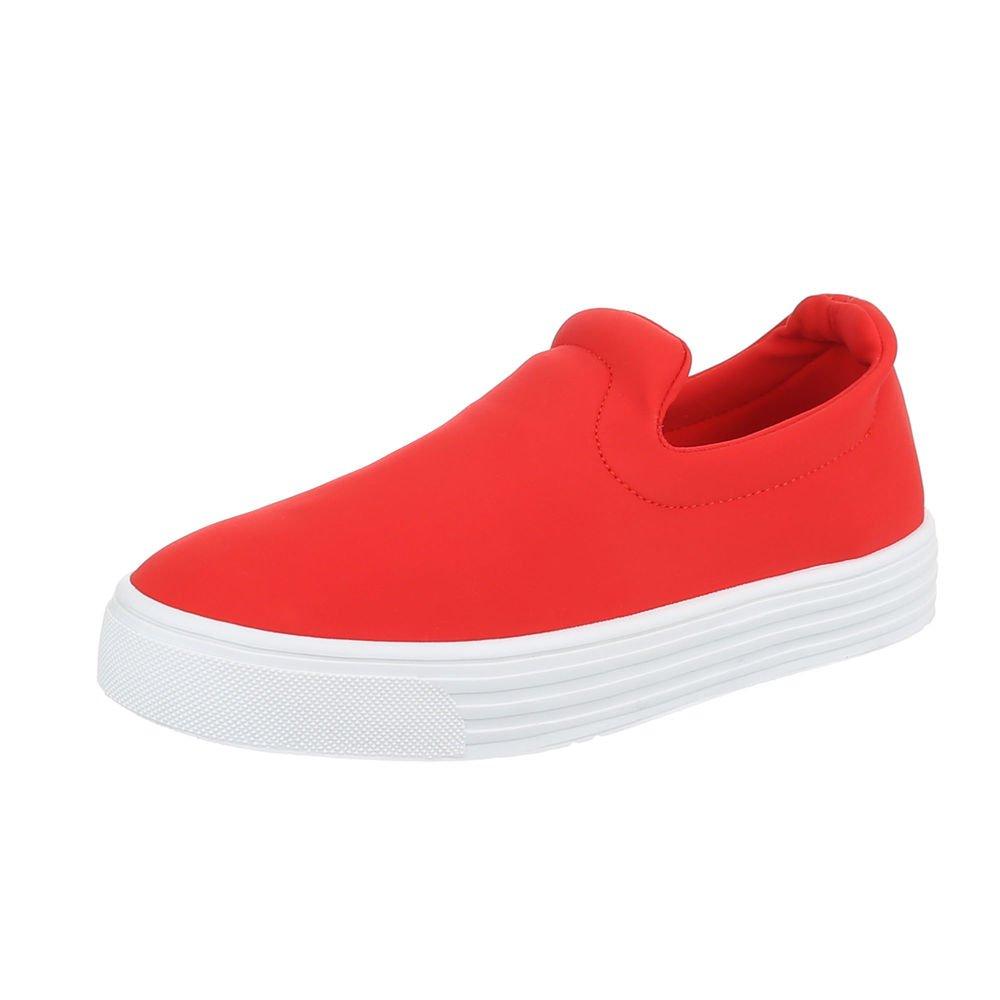 Ital-Design Sneakers Low Damenschuhe Sneakers Low Moderne Freizeitschuhe Rot