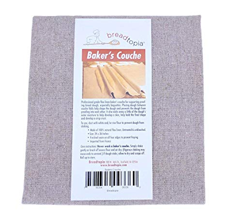 "Breadtopia Baker's Couche - Professional Flax Linen Proofing Cloth (24"" x 36"")"