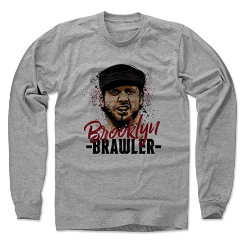 500 Level Brooklyn Brawler Long Sleeve T-Shirt M Heather Gray - Brooklyn Brawler Paint R - Officially Licensed by Pro Wrestling Tees (Brawlers Tee)