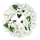 By SelectArtificials 22'' Decorative Cream and Green Artificial Floral Hydrangea Wreath - Unlit