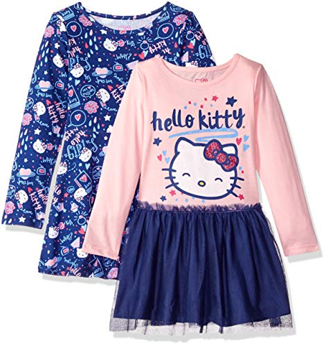 Hello Kitty Girls' Little 2 Pack Embellished Tutu Dresses, Pink, 6