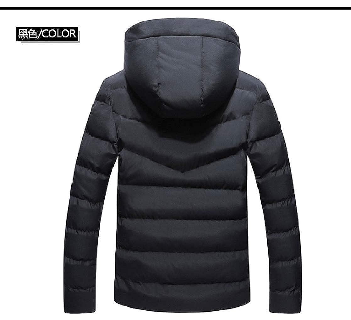 YUNY Men Hooded Warm Windproof Oversize Outdoor Puffer Jacket Black L